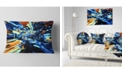 "Design Art Designart Into The Center Blue Fractal Design Abstract Throw Pillow - 12"" X 20"""