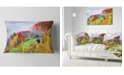 "Design Art Designart Colorful Autumn Landscape In Mountains Landscape Printed Throw Pillow - 12"" X 20"""