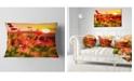 "Design Art Designart Summer Sunset With Red Poppies Landscape Printed Throw Pillow - 12"" X 20"""