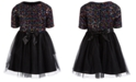 Pink & Violet Big Girls Rainbow-Sequined Bow Dress