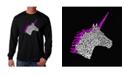 LA Pop Art Men's Word Art Long Sleeve T-Shirt - Unicorn