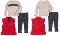 Tommy Hilfiger Baby Girls 3-Pc. Quilted Vest, Ruffled Top & Faux-Denim Leggings Set