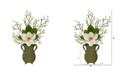 Nearly Natural Magnolia Artificial Arrangement in Metal Vase