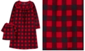 Carter's Little & Big Girls 2-Pc. Buffalo Check & Matching Doll Nightgown