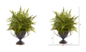"Nearly Natural 15"" Fern Artificial Plant in Metal Goblet"