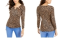 Thalia Sodi Embellished Neck Printed Top, Created for Macy's