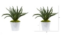 """Nearly Natural 14"""" Aloe Artificial Plant in White and Tin Embossed Planter"""