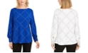 Charter Club Petite Plaid Embroidered Cuff Top, Created For Macy's
