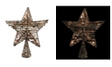 """Northlight 11.5"""" Natural Brown Rattan Star Christmas Tree Topper - Clear Lights"""