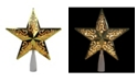 """Northlight 8.5"""" Gold Star Cut-Out Design Christmas Tree Topper - Clear Lights"""