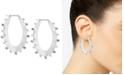 """Lucky Brand Medium Silver-Tone Pavé Textured Oval Hoop Earrings 1-4/5"""""""