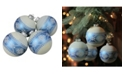 """Northlight 4-Piece Set of Silver Glitter Nordic Patterned Glass Ball Christmas Ornaments4"""" 100mm"""