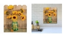 """Courtside Market Country Sunflowers 9"""" x 12"""" Wood Picket Wall Art"""