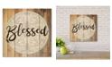"Courtside Market Modern Farmhouse Wreath - Blessed 12""X12"" Wood Pallet Wall Art"