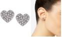 DKNY Silver-Tone Crystal Heart Stud Earrings, Created For Macy's