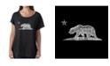 LA Pop Art Women's Dolman Cut Word Art Shirt - California Bear
