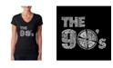 LA Pop Art Women's Word Art V-Neck T-Shirt - 90S