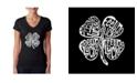 LA Pop Art Women's Word Art V-Neck T-Shirt - Feeling Lucky