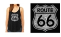 LA Pop Art Women's Premium Word Art Flowy Tank Top- Cities Along The Legendary Route 66