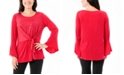NY Collection Petite Bell-Sleeve Knot-Front Top