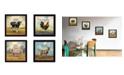 "Trendy Decor 4U Farm Animals 4-Piece Vignette by Bonnie Mohr, Black Frame, 14"" x 14"""