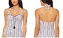 Jessica Simpson Moroccan Stripe Printed Underwire Halter Tankini Top