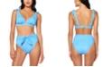 Jessica Simpson On The Spot Printed Bow Shoulder Triangle Bikini Top & High-Waist Tie Bottoms