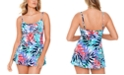 Swim Solutions Palm Springs Printed Empire Tummy Control Swimdress, Created for Macy's