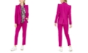 Bar III One-Button Jacket, Printed Tie-Neck Top & Faux-Button Straight-Leg Stretch Pants, Created For Macy's