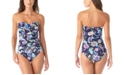 Anne Cole Holiday Paisley Twist-Front Strapless One-Piece Swimsuit