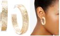 "Zenzii Gold-Tone Medium Glitter Resin Hoop Earrings, 1.5"""