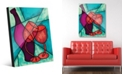 Creative Gallery Dancing Wine Bottle Glasses on Turquoise Acrylic Wall Art Print Collection