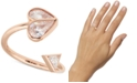 kate spade new york Rose Gold-Tone Crystal Heart Twisted Ring