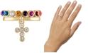 RACHEL Rachel Roy Gold-Tone 2-Pc. Set Crystal Cross & Multicolor Stone Band Stackable Rings