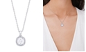 Macy's Cubic Zirconia Cushion Pendant Necklace in Fine Silver Plate