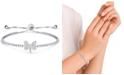 Macy's Cubic Zirconia Dragonfly Adjustable Slider Bolo Bracelet in Fine Silver Plate