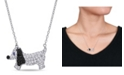Macy's Created Blue and White Sapphire (1 1/3 ct. t.w.) Black Spinel (1/5 ct. t.w.) Dog Necklace in Sterling Silver