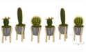 Nearly Natural 15in. Mixed Cactus Artificial Plant in Tin Planter with Legs Set of 3