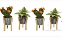 Nearly Natural 12in. Mixed Succulent Artificial Plant in Tin Planter with Legs Set of 2