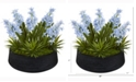 Nearly Natural 14in. Hyacinth and Succulent Artificial Plant in Decorative Bowl
