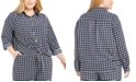 Charter Club Plus Size Tyler Tile-Print Top, Created for Macy's