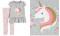 Carter's Baby Girls 2-Pc. Unicorn Top & Floral-Print Leggings Set