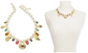 """Charter Club Gold-Tone Pavé Shell & Stone Charm Imitation Pearl Beaded Statement Necklace, 17"""" + 2"""" extender, Created for Macy's"""