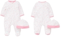 Little Me Baby Girls 2-Pc. Cotton Teddy-Print Hat & Footed Coverall