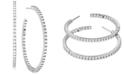 """Michael Kors Sterling Silver Medium Cubic Zirconia Hoop Earrings, 1.62"""""""
