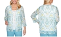 Alfred Dunner Chesapeake Bay Printed 2-For-1 Necklace Top