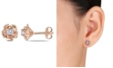 Macy's Created White Sapphire (1/3 ct. t.w.) Flower Stud Earrings in 18k Rose Gold Over Silver