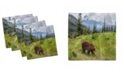 "Ambesonne Bear Set of 4 Napkins, 12"" x 12"""