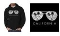 LA Pop Art Men's California Shades Word Art Hooded Sweatshirt