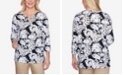 Alfred Dunner Plus Size Three Quarter Sleeve Paisley Floral Print Knit Top with Braided Neckline